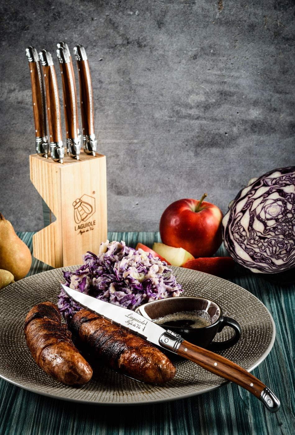 6 luxe steakmessen in opbergblok Laguiole Style de Vie